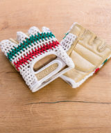 Retro Crochet Cycling Gloves – Classic Green & Red