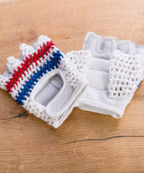 Retro Crochet Cycling Gloves – Classic Blue & Red