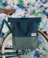 Urban Proof Recycled Shopper Pannier Bag in Blue and Green